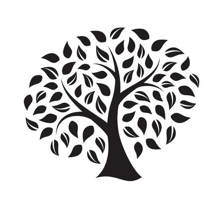 albero della vita: Silhouette di un albero isolato su sfondo bianco Vettoriali