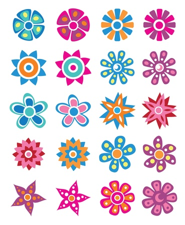 naturism: Set of colorful flowers Illustration