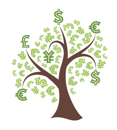 Money tree on white background  Abstract illustration