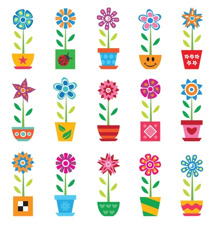 spotted flower: Colorful flowers in pots on white background