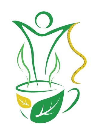 woman drinking tea: Tea for weight loss  Vector illustration