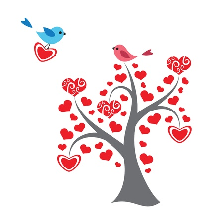 Hearts tree and birds in love Vector