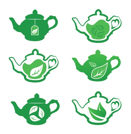 steam of a leaf: Teapot with green tea  Vector collection  Illustration