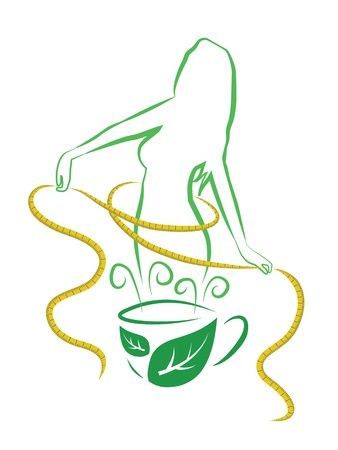 weight loss woman: Tea for weight loss  Vector illustration