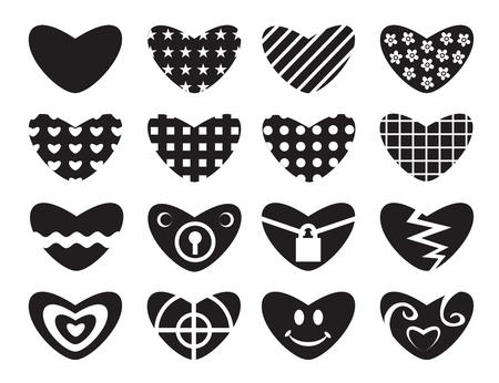 Black hearts  Set of love symbol  Vector