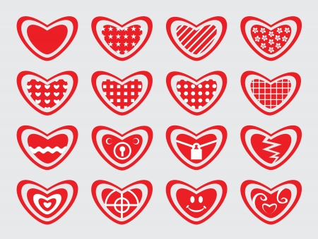 Red hearts  Set of love symbol  Vector