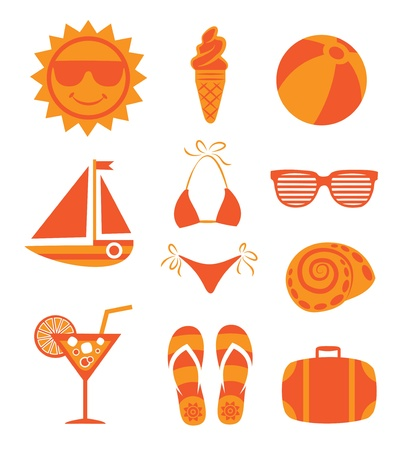 flops: Set of summer icons on white background