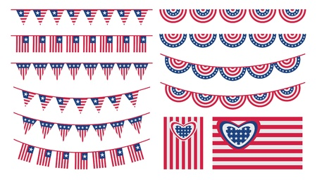 bunting flags: United States of America bunting and flags set