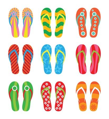 flip flops: Colorful flip flops set  Illustration on white background