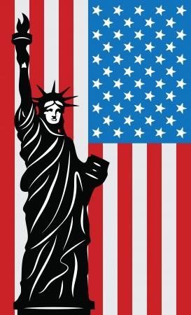 Patriotischen Hintergrund der mit der Freiheitsstatue und amerikanische Flagge