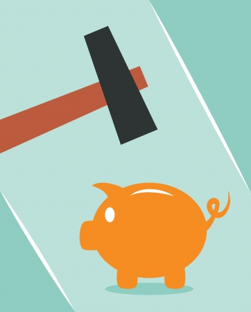 economic depression: Piggy bank and hammer  Concept for financial crisis or economic depression