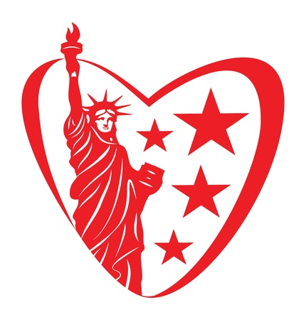 new love: America love  Heart with statue of liberty  Illustration