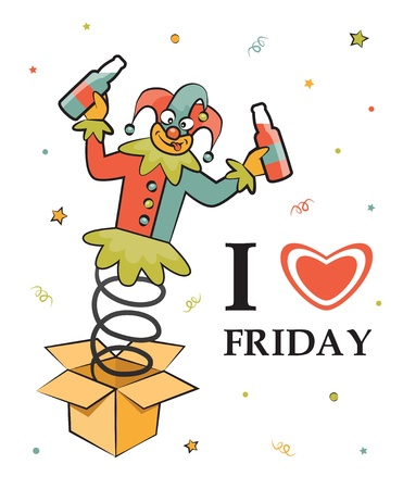 jack in the box: Happy friday  Cute illustration