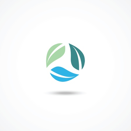 Ecology icon with leafs