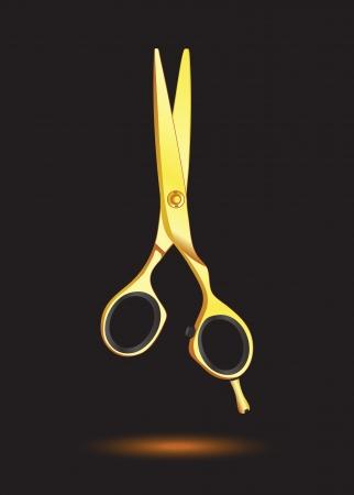 peluqueria: Tijeras de oro sobre fondo negro Vectores