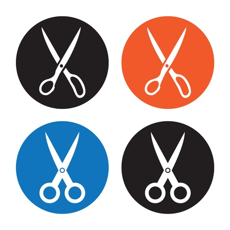 pair of scissors: Scissors  Vector icon on white background