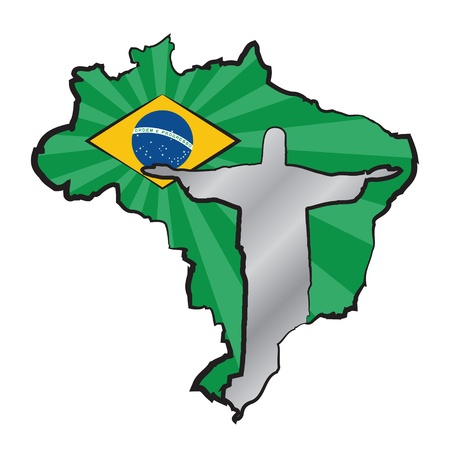 Map of Brazil with flag and statue of Jesus Christ