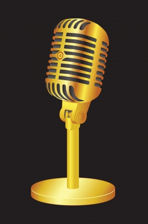 Gold Microphone on black background Vector