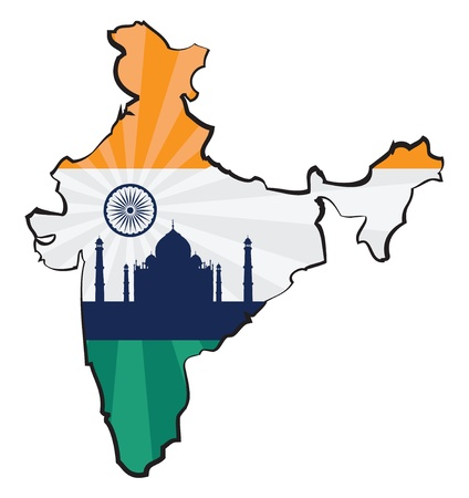 Map of India with flag and Taj Mahal Vector