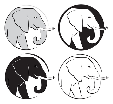 siluetas de elefantes: Set elefante