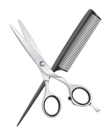 scissors and comb: Scissors and comb on white background