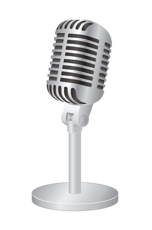 retro microphone: Microphone on white background