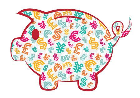 Colorful Piggy Bank with currency signs Vector