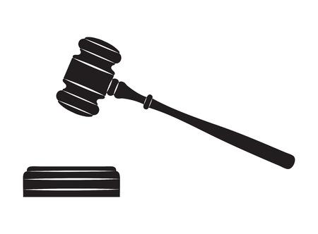 De hamer Zwart silhouet op een witte achtergrond Stock Illustratie