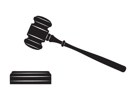 court judge: Judge gavel  Black silhouette on white background