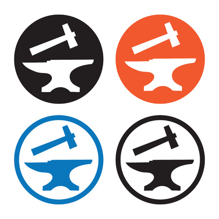 anvil: Hammer and anvil icon Illustration