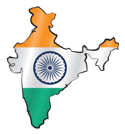 bandera de LA INDIA: Mapa de la India de la bandera Vectores