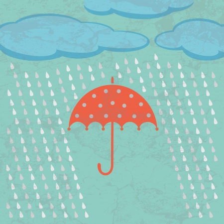 weatherproof: Umbrella clouds and rain drops  Weather concept in retro style  Illustration