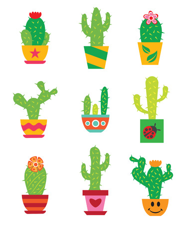 potted plant cactus: Cactus set