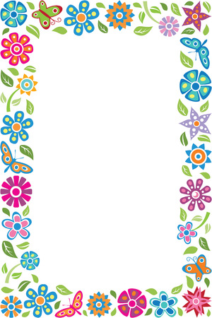 Floral frame with butterflies Иллюстрация