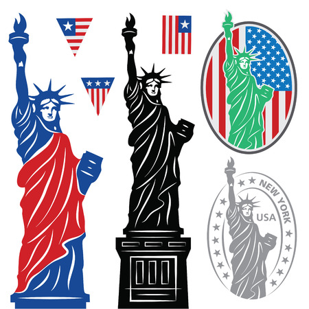 the statue: Statue Of Liberty and flags Illustration