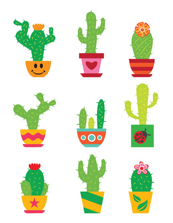 potted: Cactus set