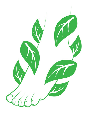Human foot with leafs Element for design