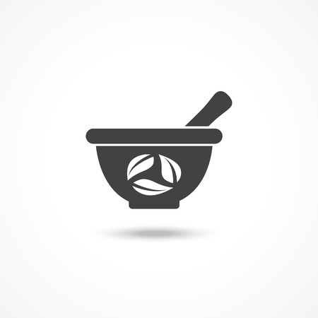 ayurveda: Mortar and pestle icon Illustration