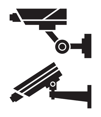 monitored area: Silhouettes of CCTV cameras