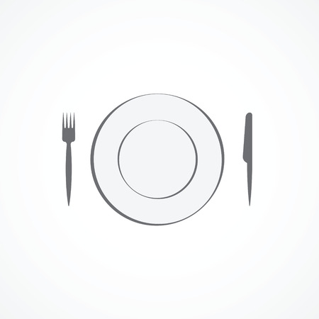 dinnerware: Food icon  Plate, fork and knife