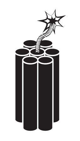 threat of violence: Dynamite on white background Illustration