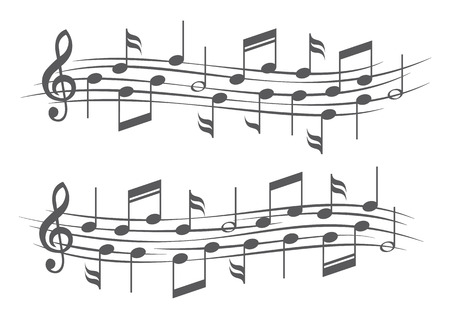 Music notes on staves 일러스트