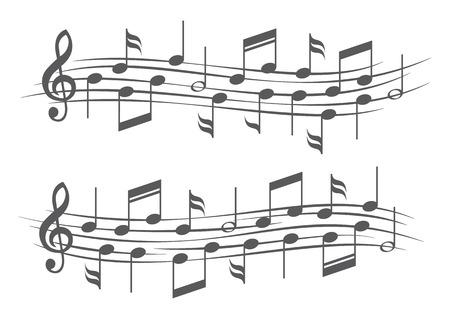 Muziek notities op draag stokken