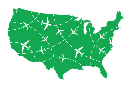divert: USA map with airplane routes Illustration