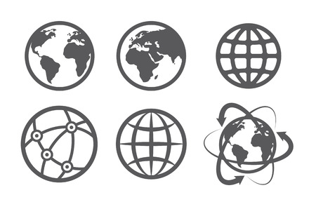 reflection internet: Globe earth icons set on white background Illustration