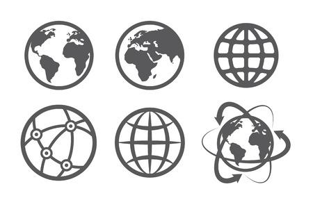 Icônes du globe terre définie sur fond blanc