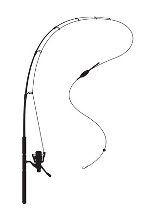 sign pole: Fishing rod on white background
