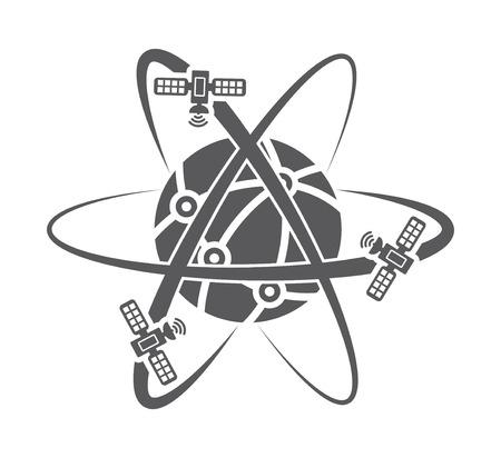 Illustration der Globus-Symbol mit Satelliten Vektorgrafik