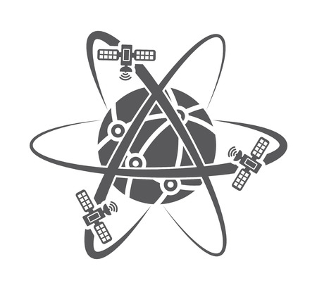 satellite: Illustration of globe symbol with satellites Illustration
