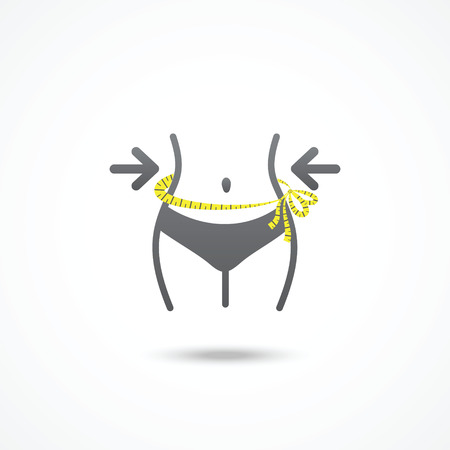 lose weight: Weight loss icon  Slim lady with measuring tape  Illustration
